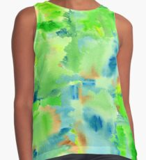 In the Forest in Spring Abstract Watercolor Collage Sleeveless Top