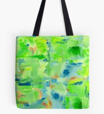 In the Forest in Spring Abstract Watercolor Collage Tote Bag
