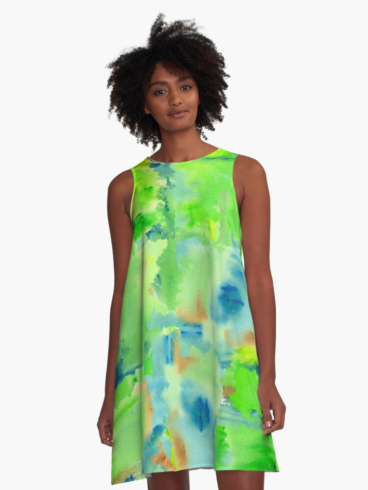 In the Forest in Spring Abstract Watercolor Collage A-Line Dress Front