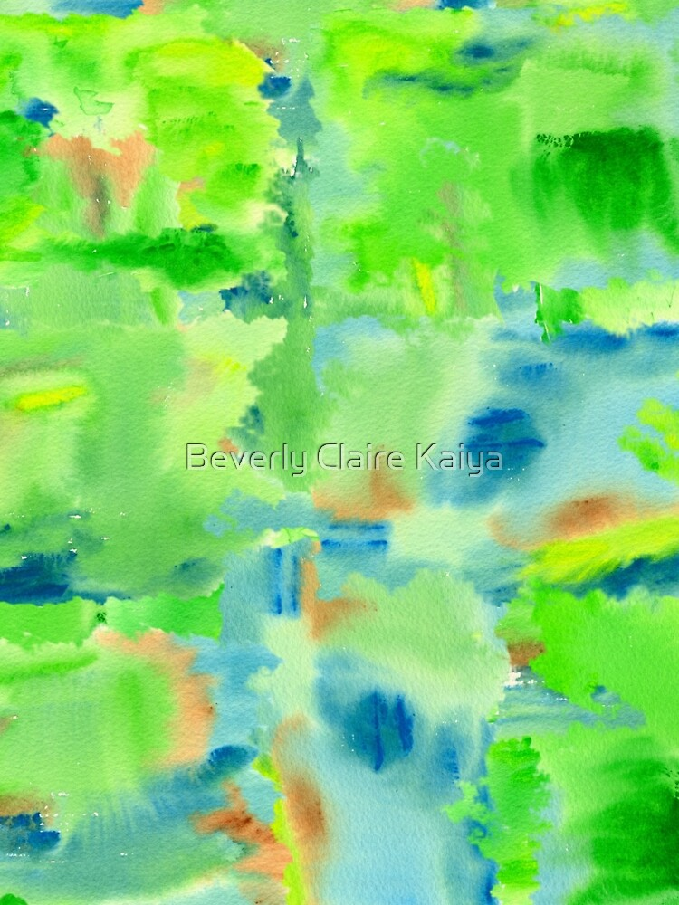 In the Forest in Spring Abstract Watercolor Collage by beverlyclaire