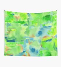 In the Forest in Spring Abstract Watercolor Collage Wall Tapestry