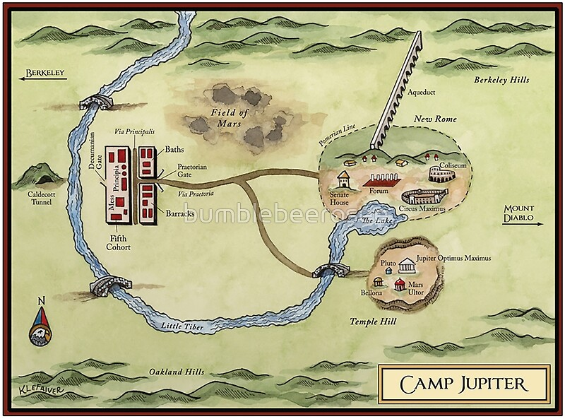 Camp Jupiter Map Posters by bumblebeerosee Redbubble