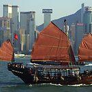 Jonk in honk kong bay - China by Christophe Dur