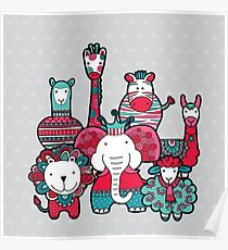 Doodle Animal Friends Pink & Grey Poster