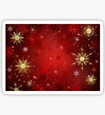 Red Background with Gold Snowflakes Sticker
