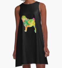 Watercolor Splash Love Pug Tee Shirt A-Line Dress
