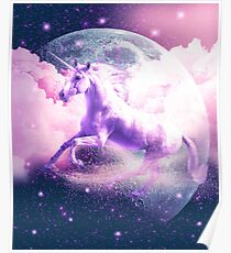 Flying Space Galaxy Unicorn Poster