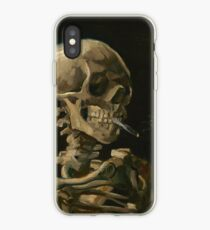 Skull of a Skeleton with Burning Cigarette iPhone Case