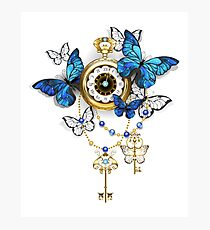 Antique Clock with Butterflies Morpho Photographic Print