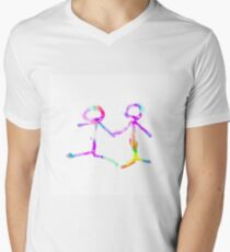 happy couple holding hands in pink purple yellow blue green T-Shirt