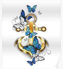 Anker mit Schmetterlingen Morpho Poster