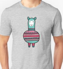 Doodle Alpaca on Green Triangle Background T-Shirt