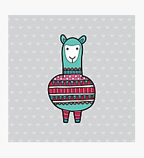 Doodle Alpaca on Green Triangle Background Photographic Print