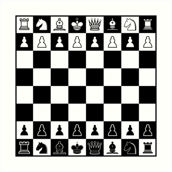 photo relating to Printable Chess Pieces identify Chess Board Artwork Print through TLTextiles