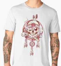 INDIAN SKULL FEATHER - TETE DE MORT, PLUMES Men's Premium T-Shirt