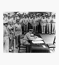 Admiral Nimitz Signing The Japanese Surrender  Photographic Print