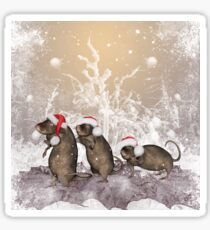 Funny christmas rats  Sticker