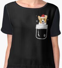 Corgi In Your Front Pocket Funny Christmas Costume Women's Chiffon Top