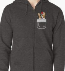 Corgi In Your Front Pocket Funny Christmas Costume Zipped Hoodie