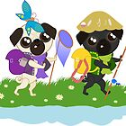 Pug Buddies on an Adventure Hike by NorroenDyrd