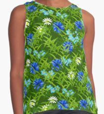 Cornflowers and chamomiles in grass Contrast Tank