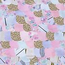 Mermaid scales in pink, purple and gold hues by Alicia Rogerson