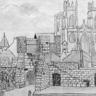 My Pencil Drawing of Bootham Gate and York Minster, Yorkshire, England 11th century by Dennis Melling