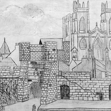 My Pencil Drawing of Bootham Gate and York Minster, Yorkshire, England 11th century by ZipaC