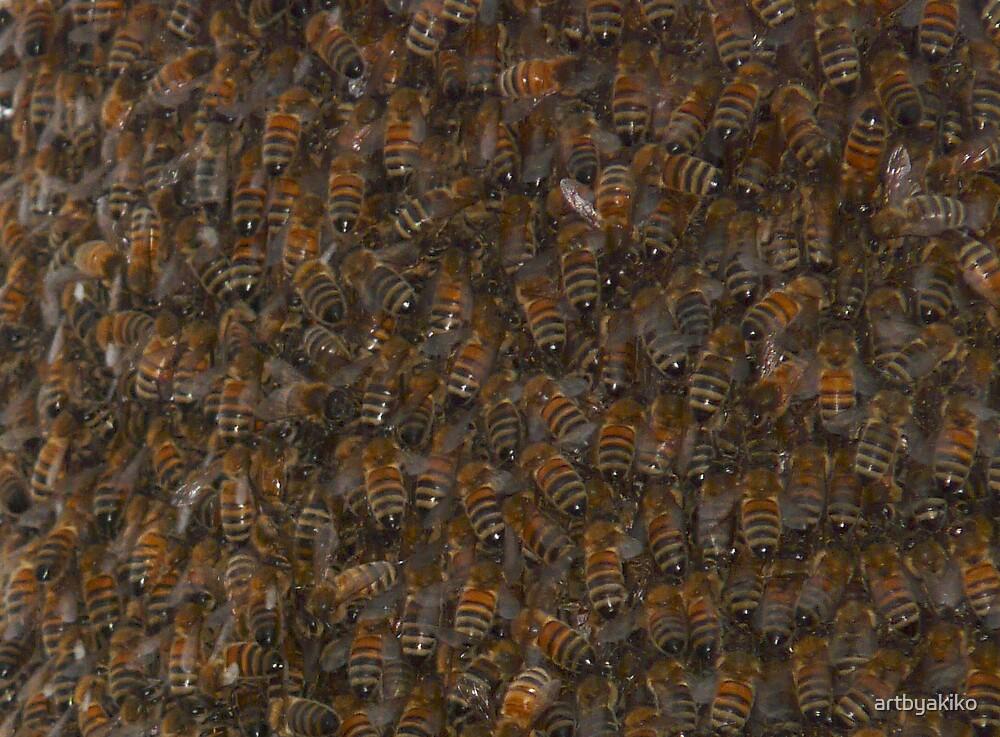 Swarm of honeybees by artbyakiko