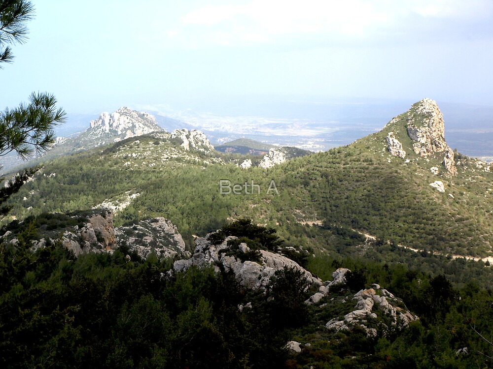 View from Kantara Castle, Northern Cyprus by Beth A