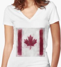 Maple Leaf Flag No. 2, Series 2 Women's Fitted V-Neck T-Shirt