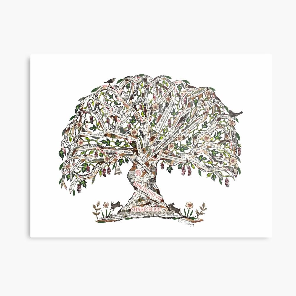 Árbol de Shakespeare por el arte de Sue Trickey Lámina metálica