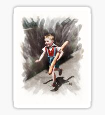Colorized Parisian Boy with a Baguette  Sticker