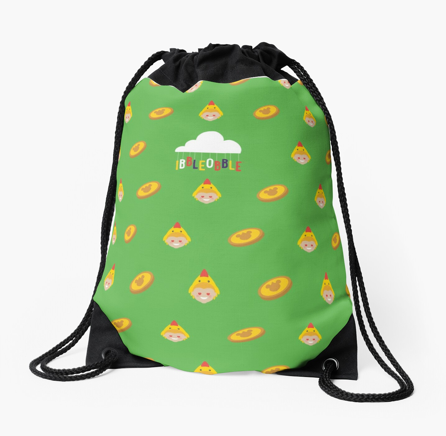 Ibbleobble™  Lola The Chicken with Chocolate Coins - Drawstring Bag - Green by ibbleobble