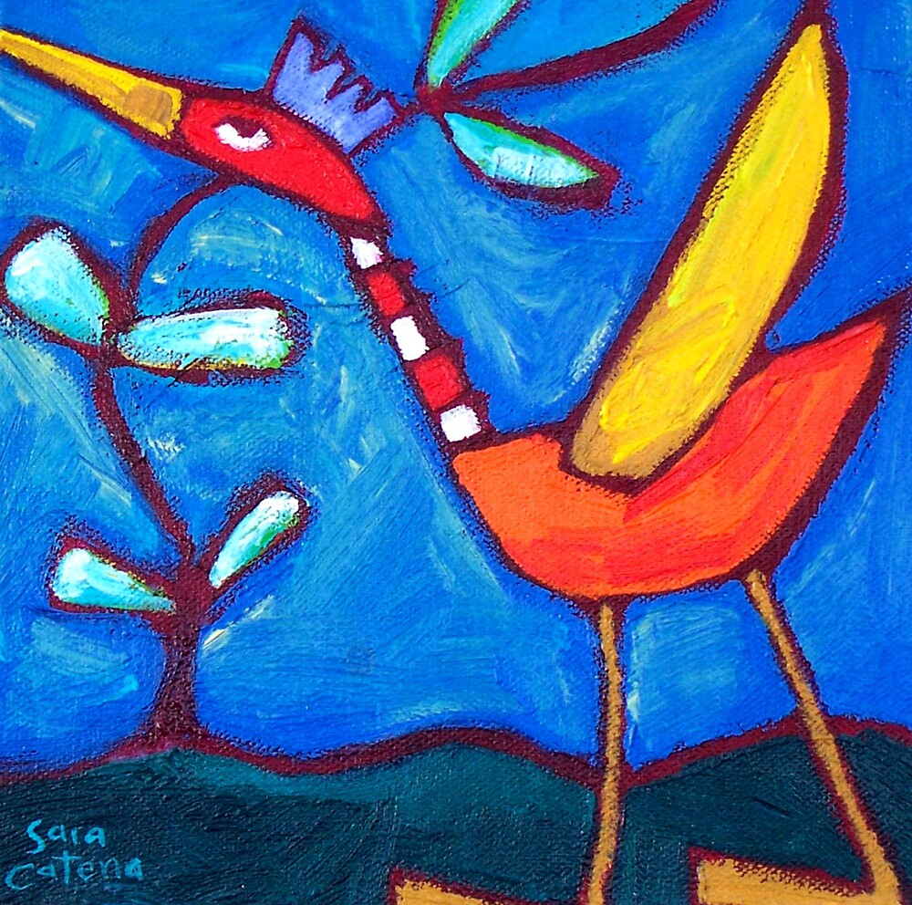 THE  LOVEBIRD  FLAPS  ITS  WINGS by ART PRINTS ONLINE         by artist SARA  CATENA