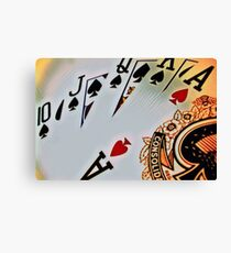 Man cave - deck of cards/royal flush Canvas Print