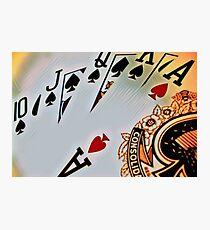 Man cave - deck of cards/royal flush Photographic Print