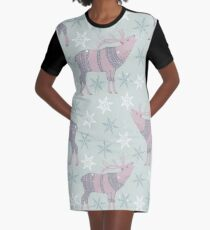Artic Animals in Space - Deer Graphic T-Shirt Dress