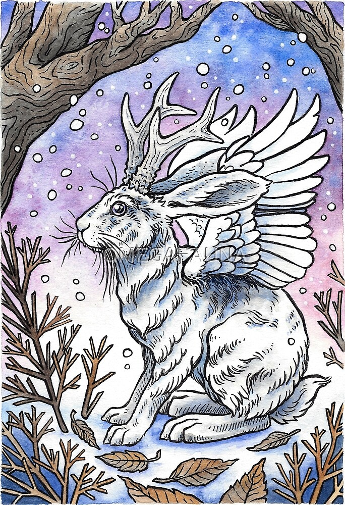 Winged Jackalope in Winter Plumage | Watercolor Nature Painting by OMEGAFAUNA