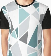 Geometric Design in Gray and Teal Graphic T-Shirt