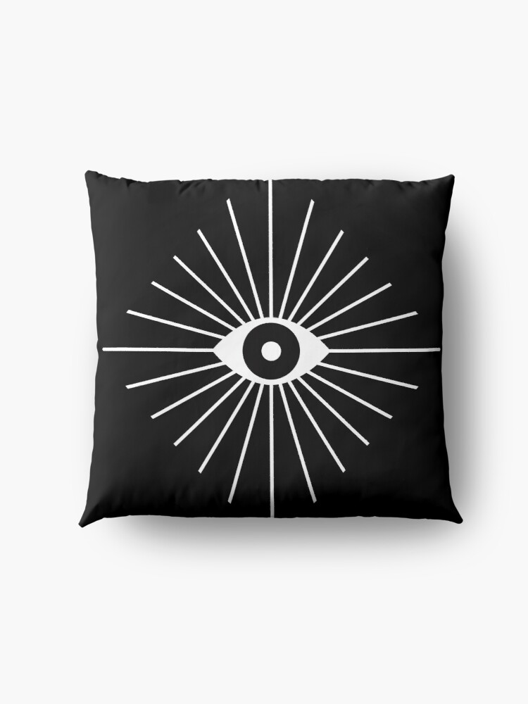 Alternate view of Electric Eyes - Black and White Floor Pillow