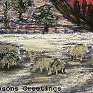Seasons Greeting Sheep in winter by George Hunter