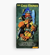 The Lost Vikings, Restored Vintage Nintendo Power Poster  Canvas Print