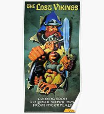 The Lost Vikings, Restored Vintage Nintendo Power Poster  Poster