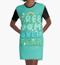 Freedom Over Fear Graphic T-Shirt Dress