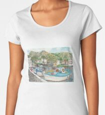 Boats in Elounda Harbour Women's Premium T-Shirt