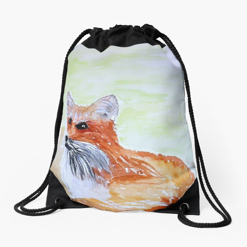 Red Fox Drawstring Bag Front
