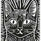 Cat Portrait Lino Print by Adam Regester
