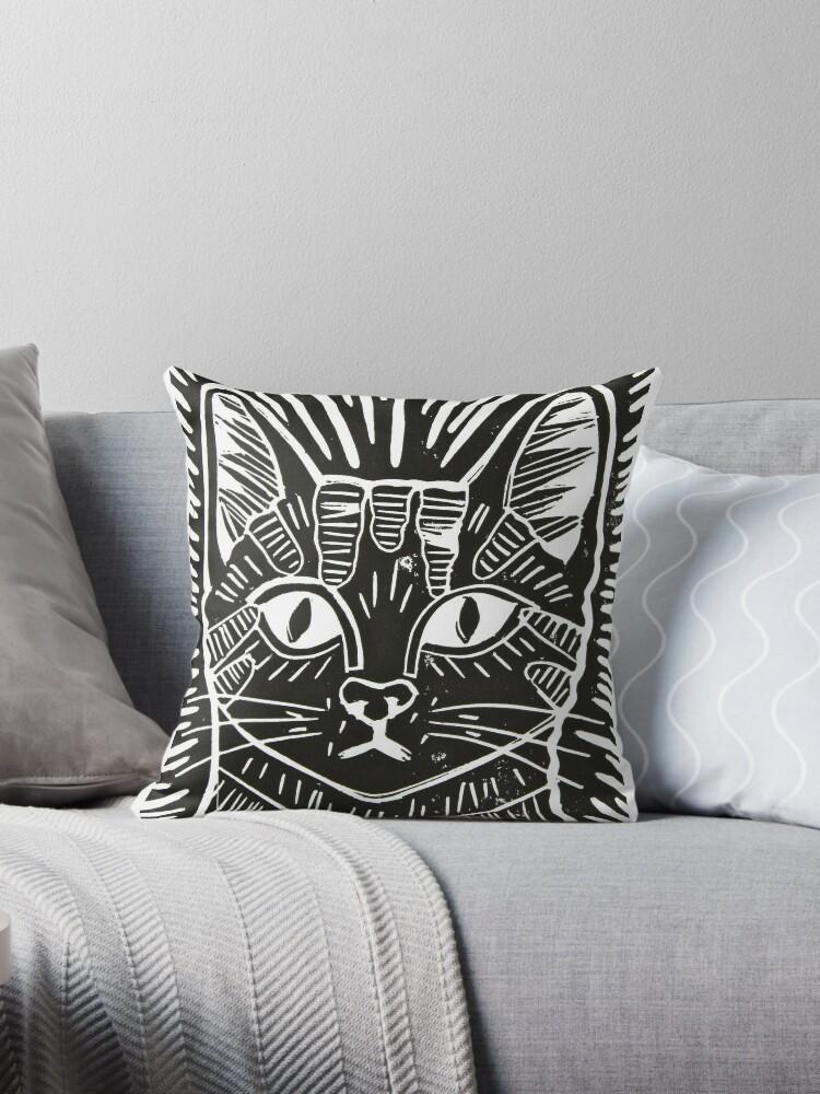 Cat Portrait Lino Print by Adam Regester