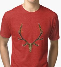 Bull elk skull European mount shadows Tri-blend T-Shirt